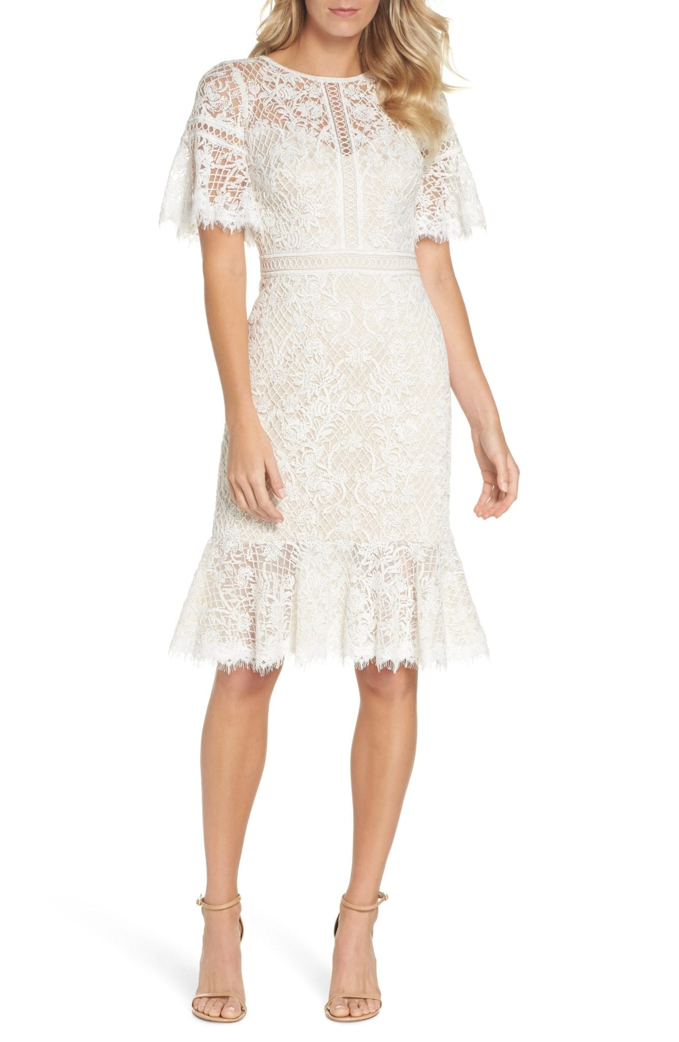 TADASHI SHOJI Embroidered Mesh Ivory / Natural Dress
