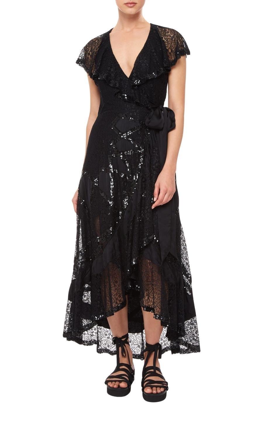 TEMPERLEY LONDON Boulevard Ruffle Black Dress