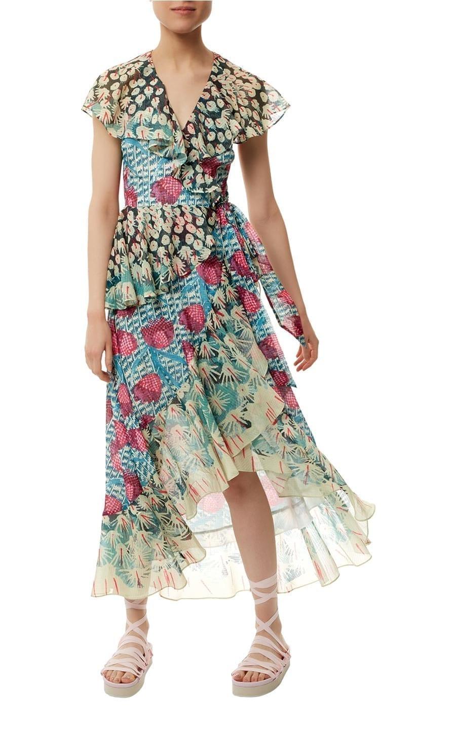 TEMPERLEY LONDON Garden Cacti Turquoise / Printed Dress