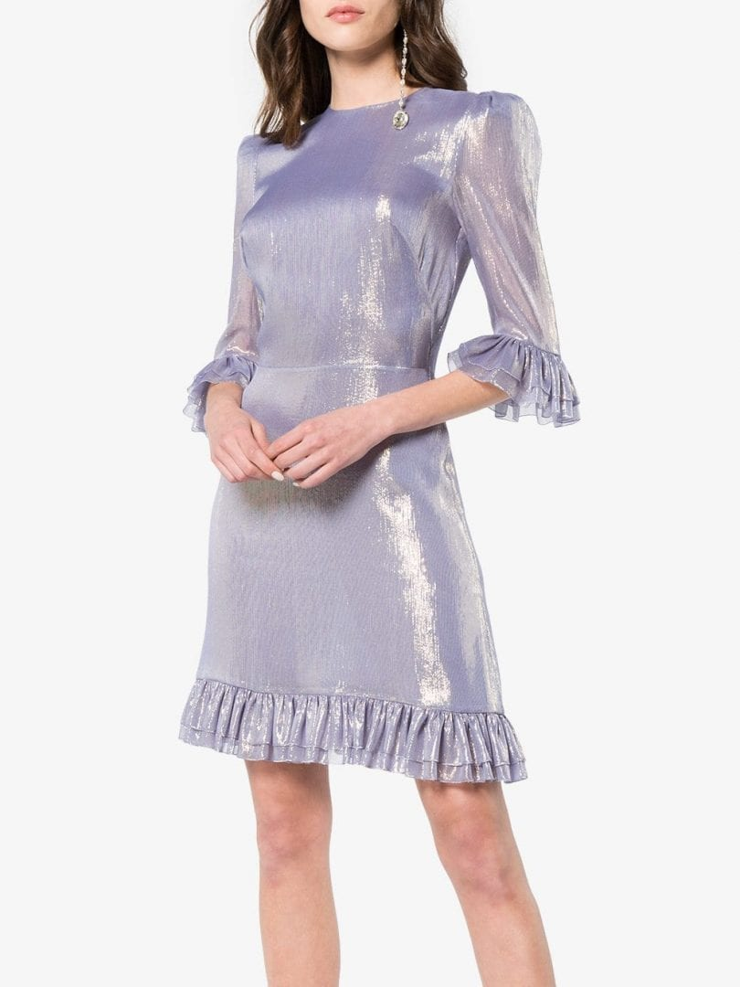 4d294ccb4fc THE VAMPIRE S WIFE Chiffon Mini Festival Lilac Metallic Dress