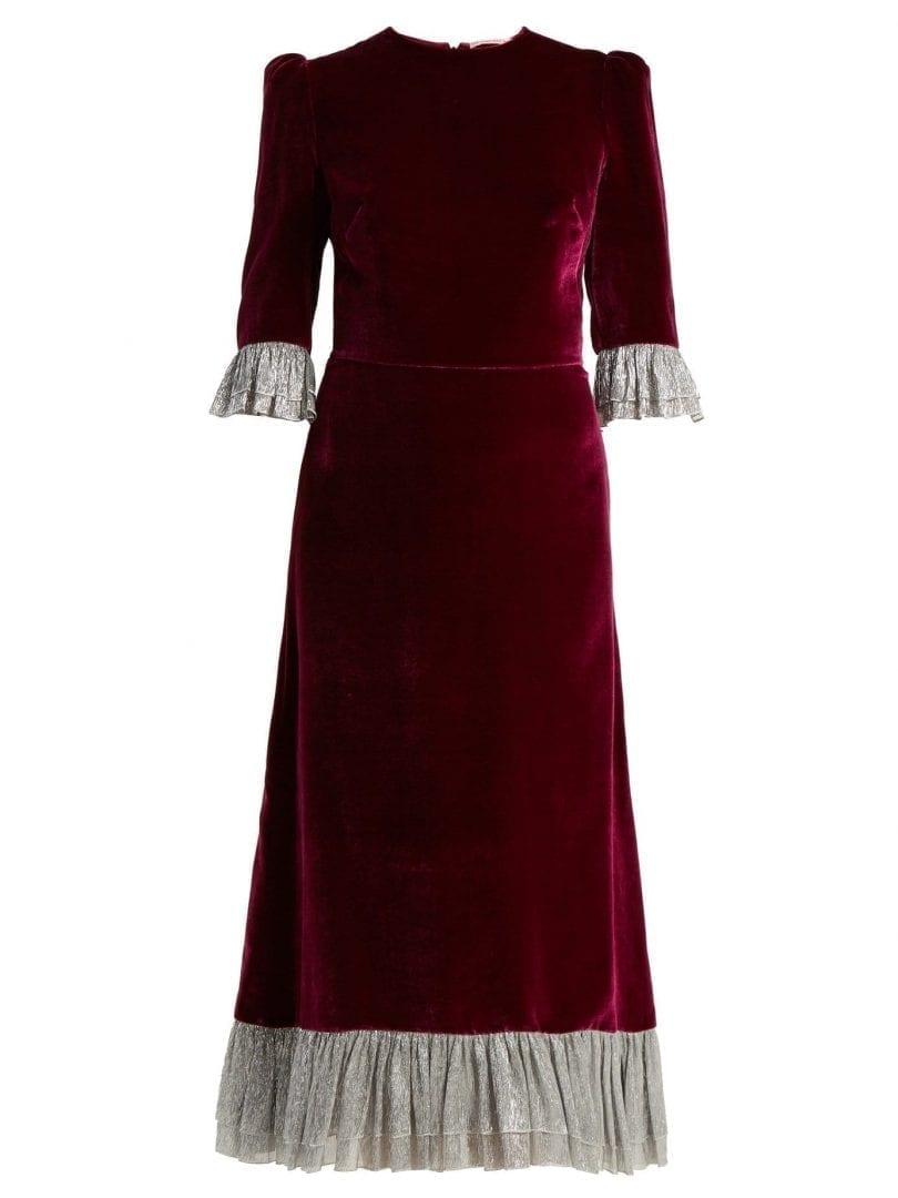 THE VAMPIRE\'S WIFE Falconetti Ruffle Trimmed Velvet Burgundy Dress ...
