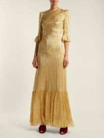 THE VAMPIRE'S WIFE Festival Ruffle Trimmed Silk Blend Lamé Gold Dress