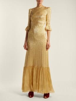 THE VAMPIRE'S WIFE Festival Ruffle Trimmed Silk Blend Lamé Gold Dress
