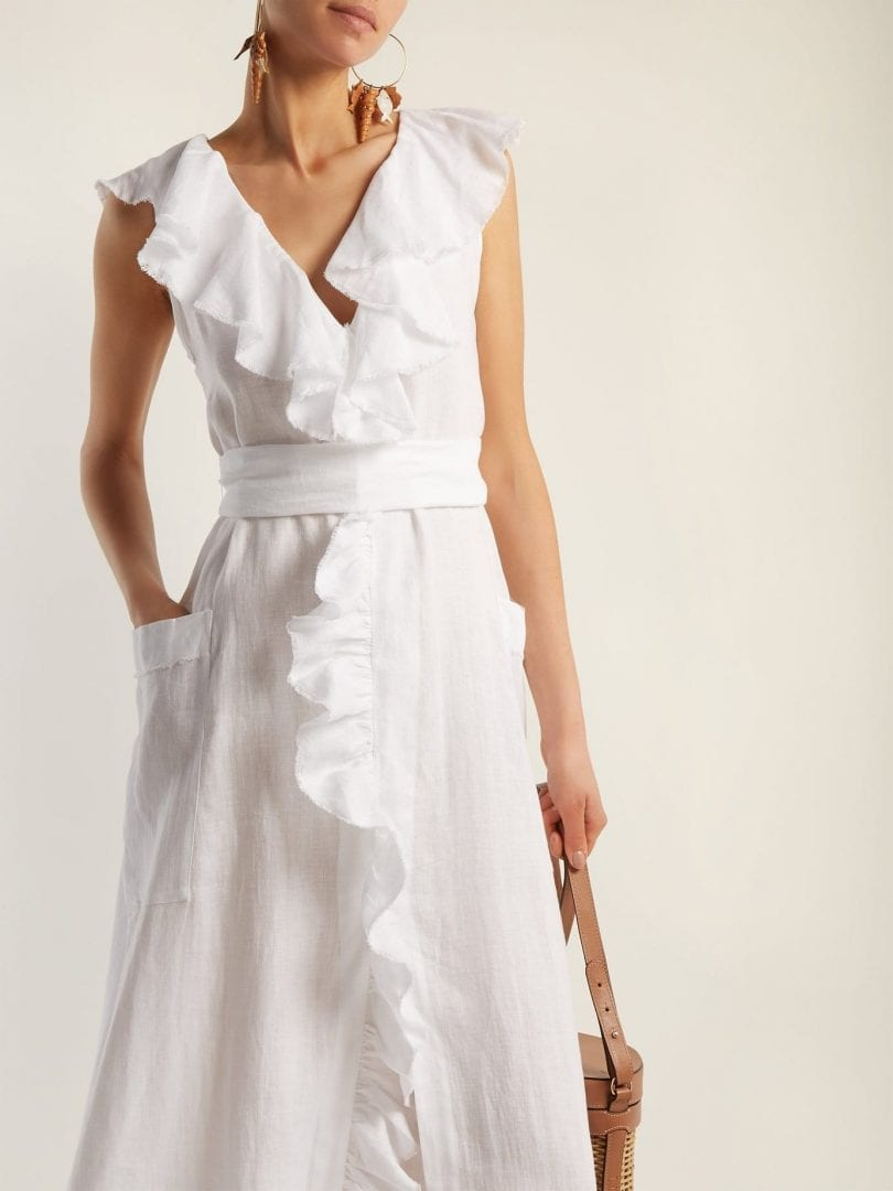 THREE GRACES LONDON Marble Ruffled Linen Maxi White Dress