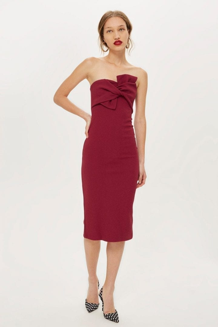 TOP SHOP Bow Twist Textured Midi Bodycon Berry Red Dress