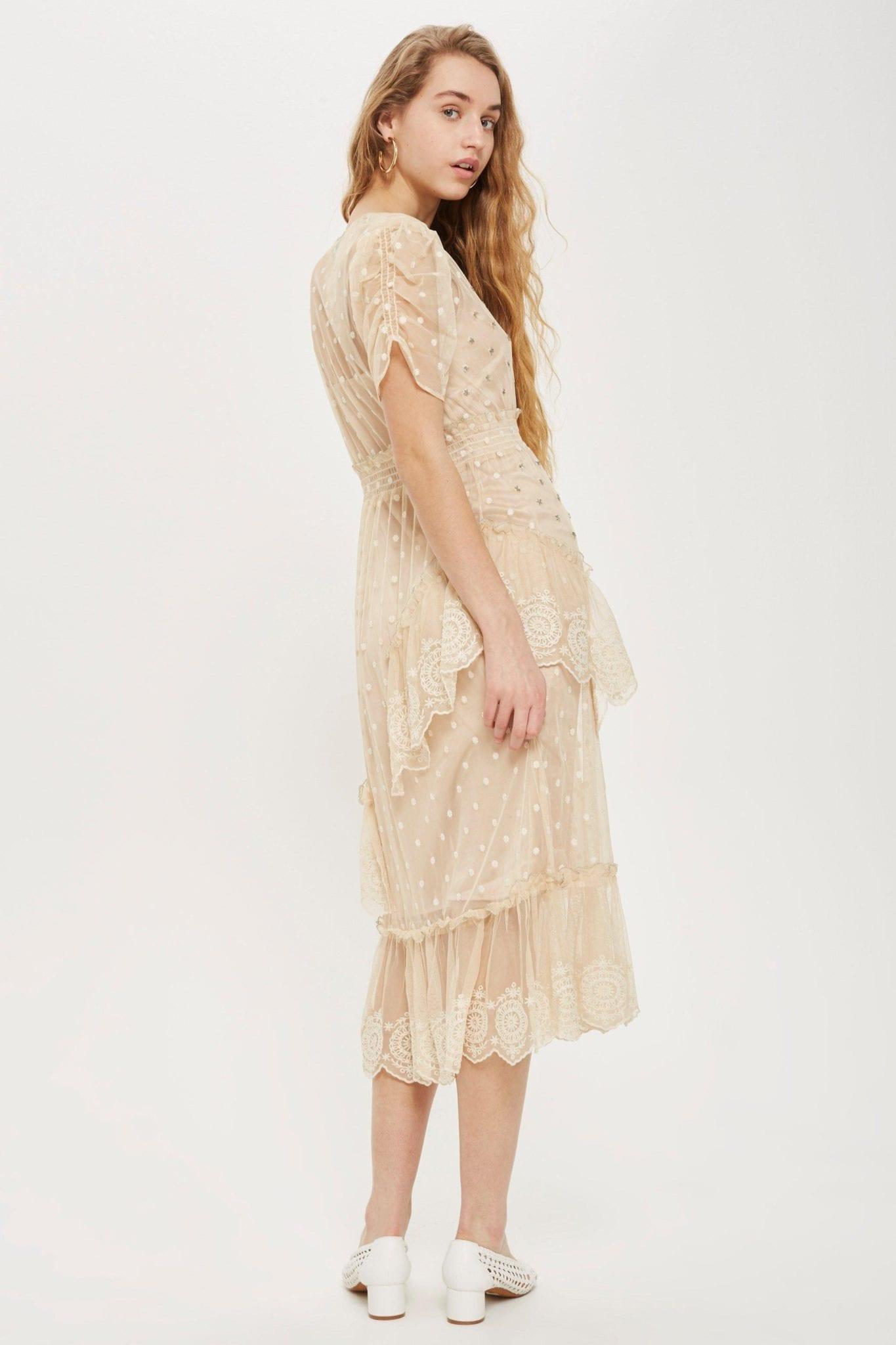 TOP SHOP Embellished Mesh Tier Midi Ivory Dress