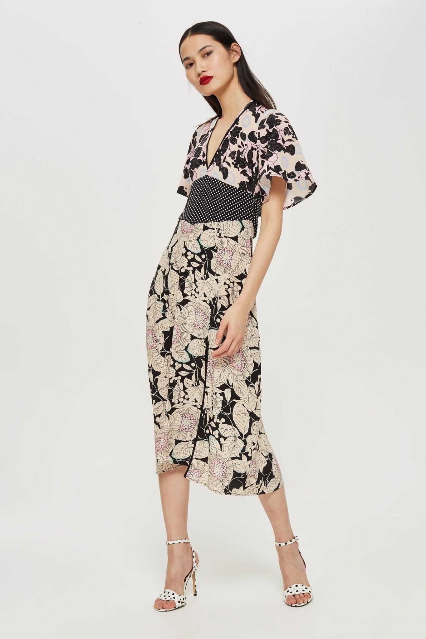TOP SHOP Mix Midi Black / Floral Printed Dress