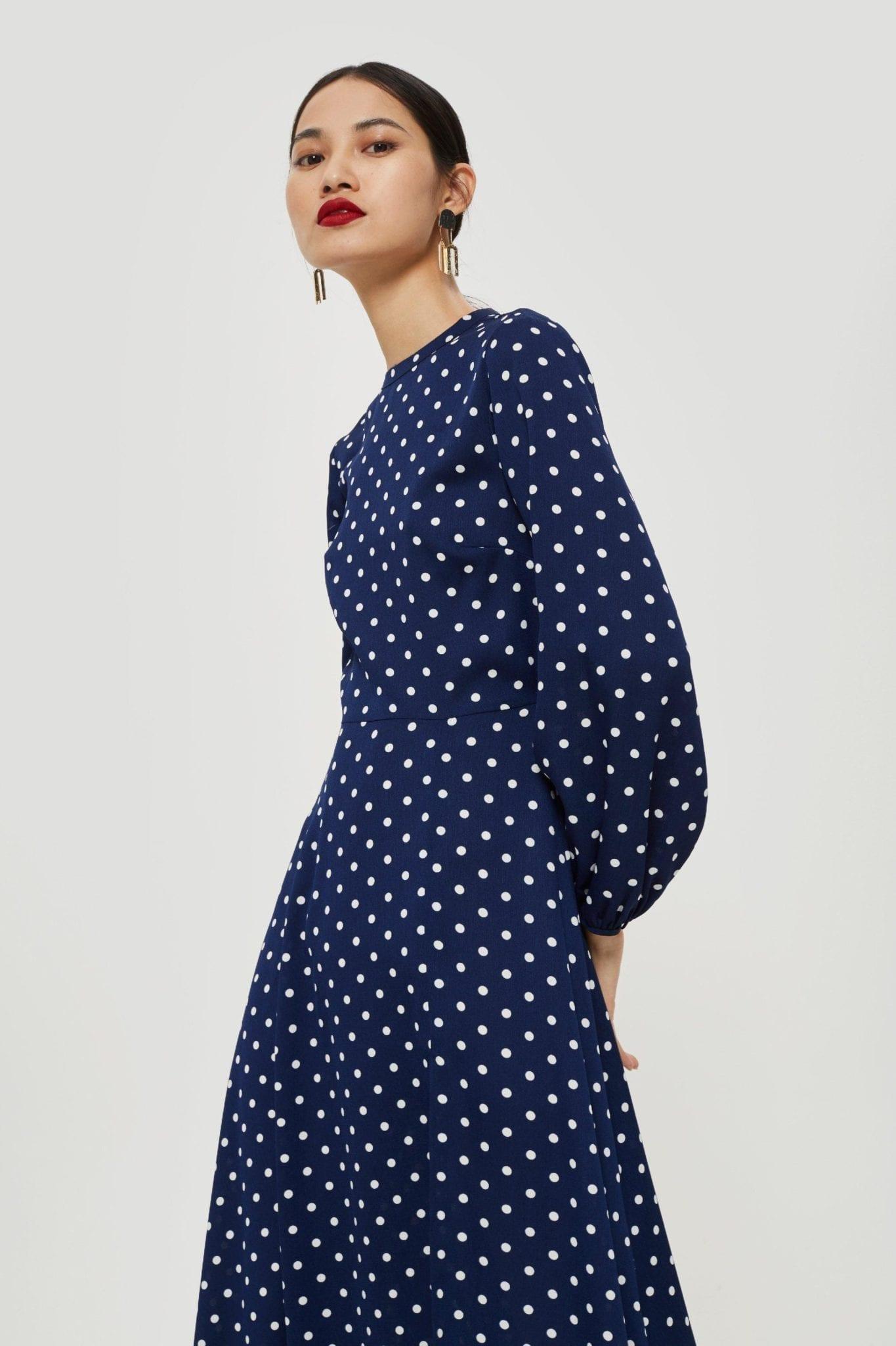TOP SHOP Polka Dot Print Open Back Maxi Navy Blue Dress - We Select Dresses