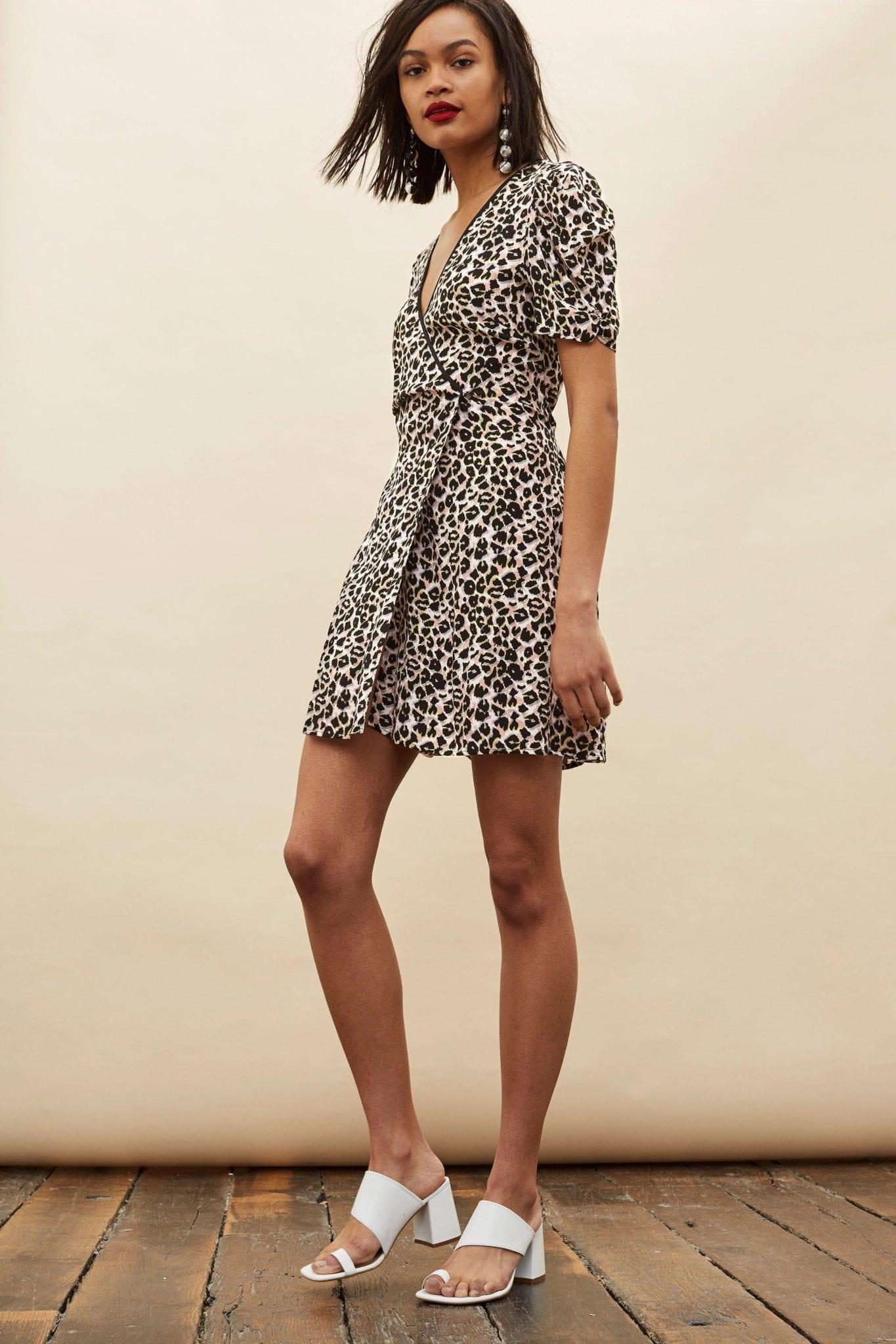 TOP SHOP Tall Leopard Wrap Mini Multi Printed Dress