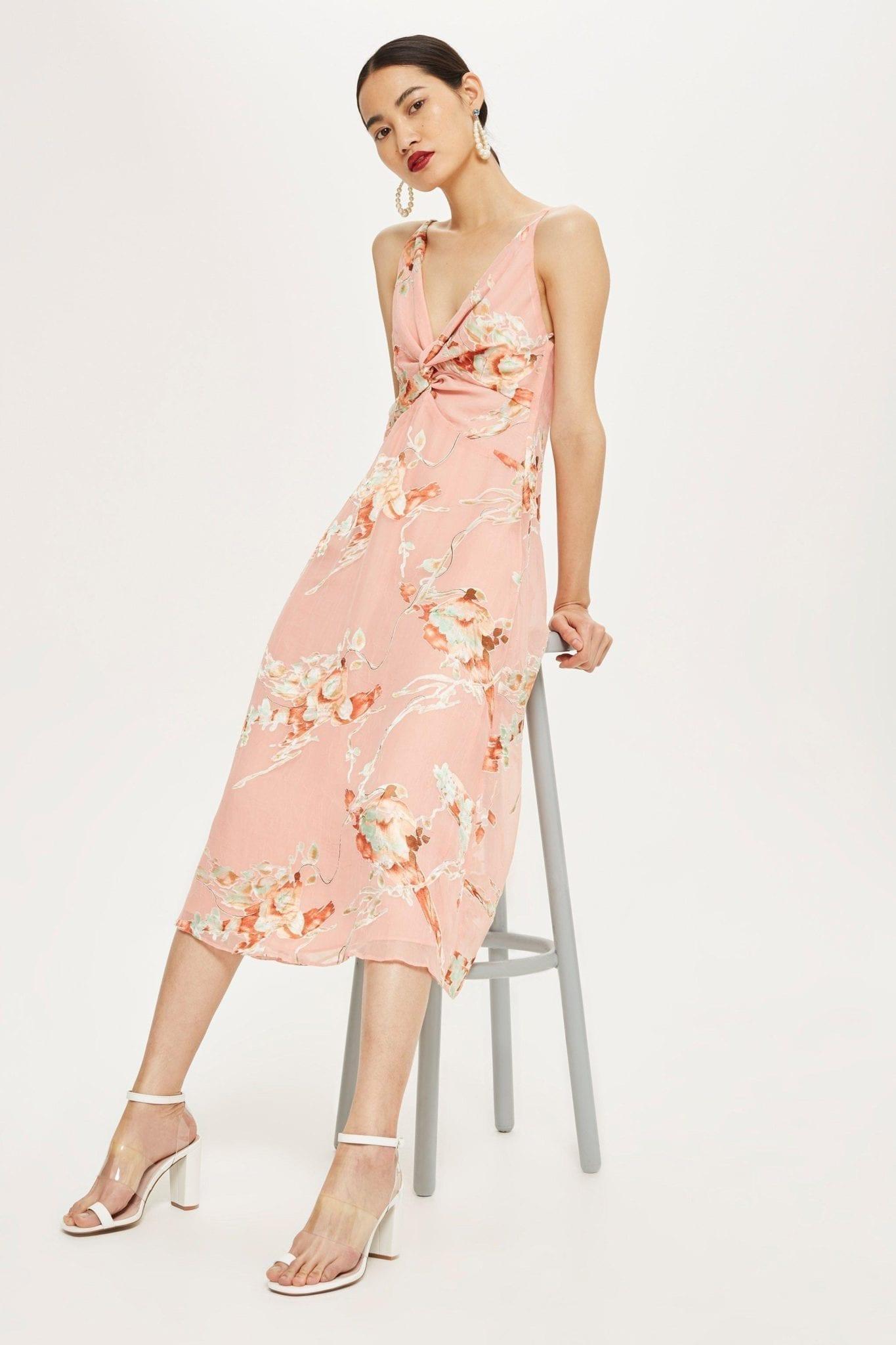 TOP SHOP Twist Front Mini Blush / Floral Print Dress