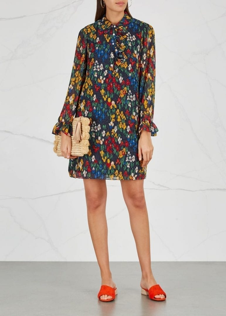 Tory Burch Livia Plissé Navy Fl Print Dress