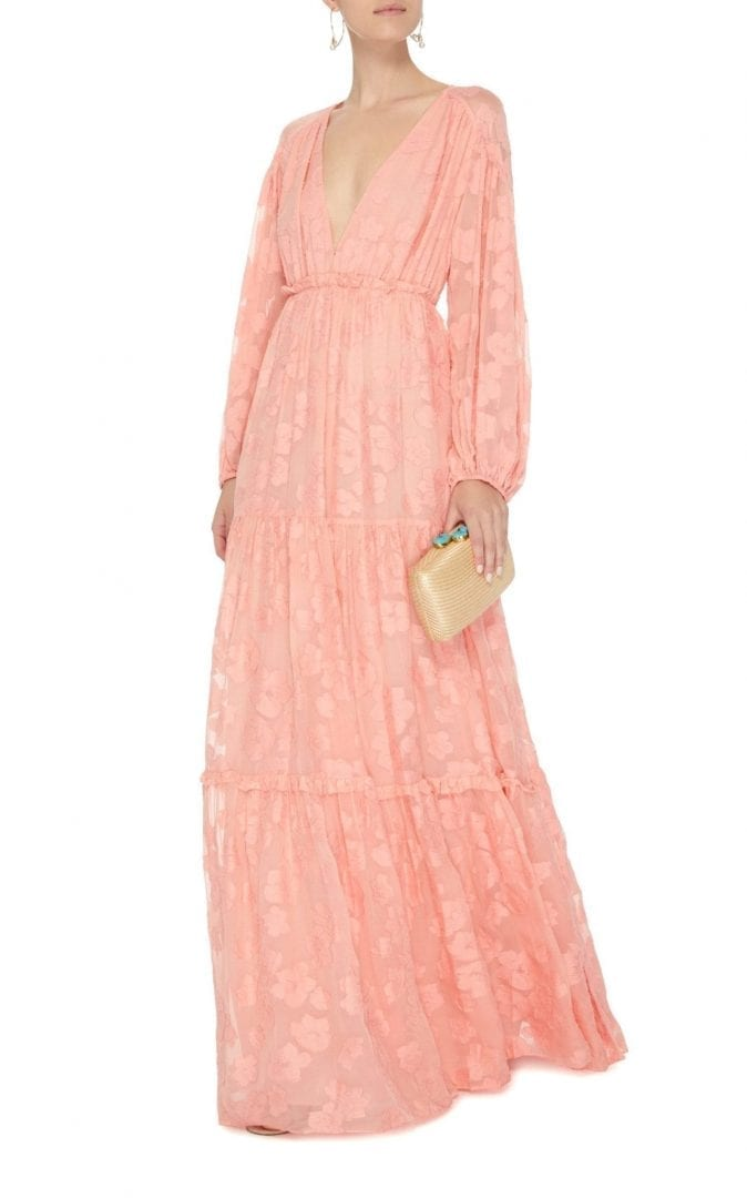 ULLA JOHNSON Margaux Floral Burnout Maxi Pink Dress