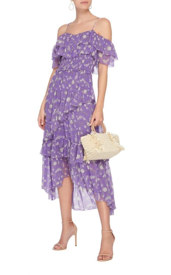 ULLA JOHNSON Penninah Cold Shoulder Ruffle Purple Dress