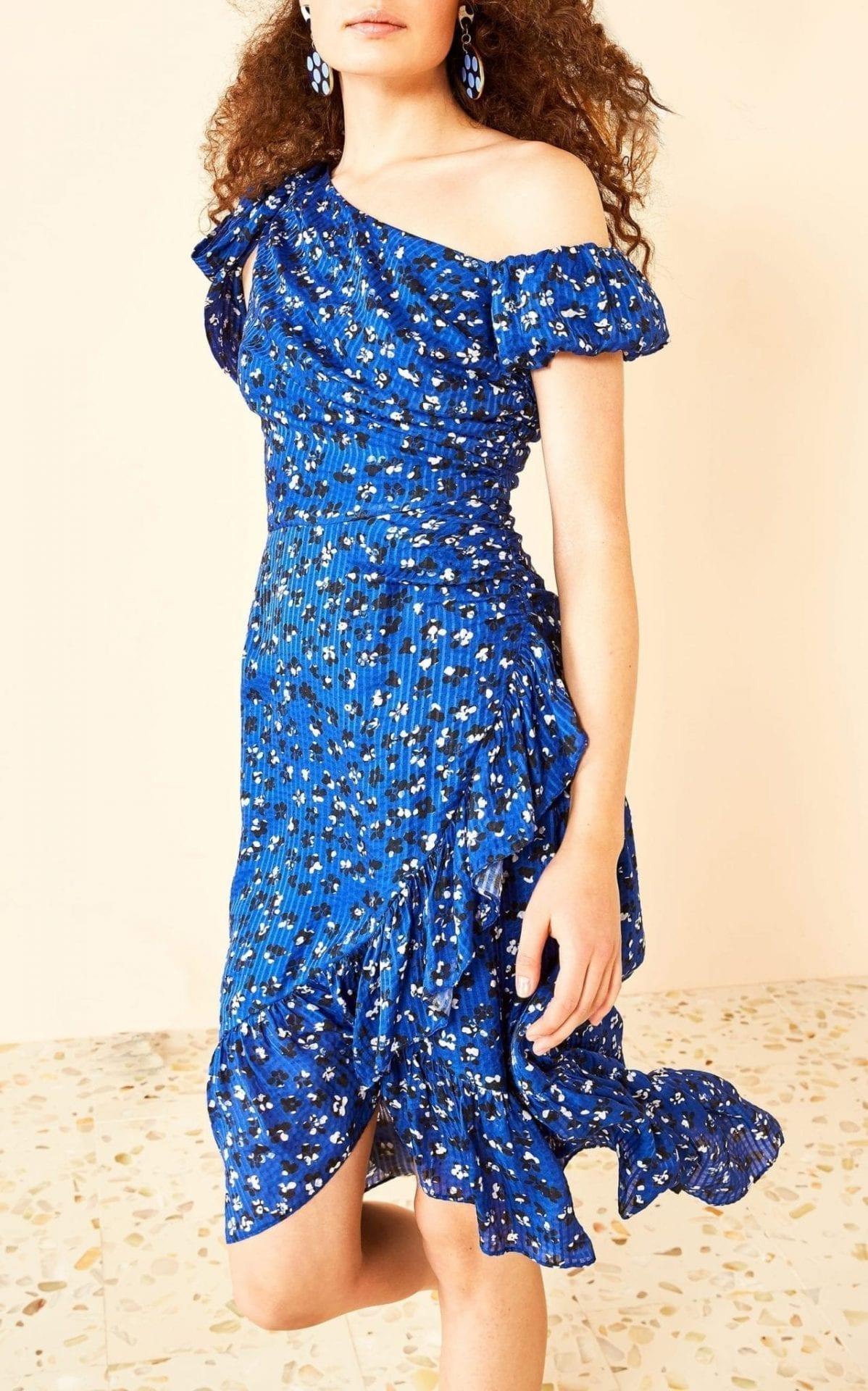 ULLA JOHNSON Uma Blue / Floral Printed Dress