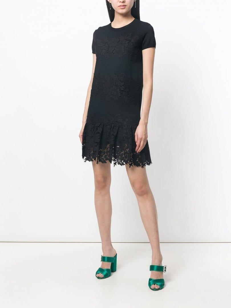 VALENTINO Lace Panel Sweater Black Dress
