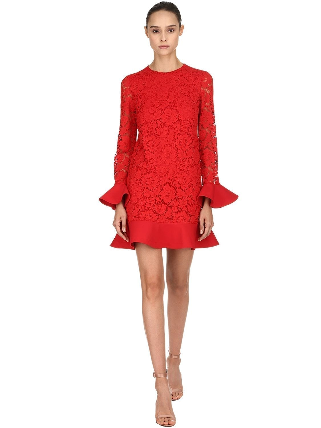 VALENTINO Ruffled Lace Red Dress - We Select Dresses