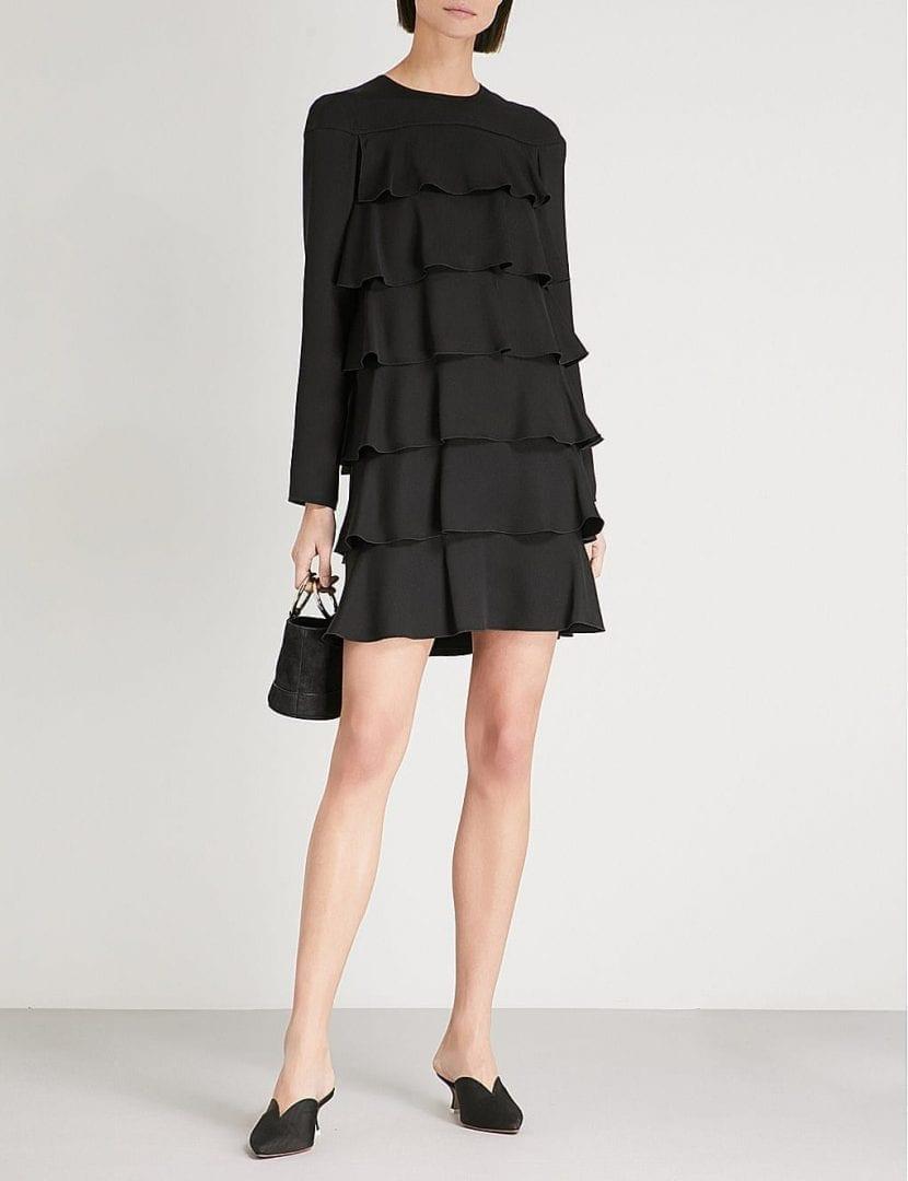 VALENTINO Tiered Silk Crepe Black Dress