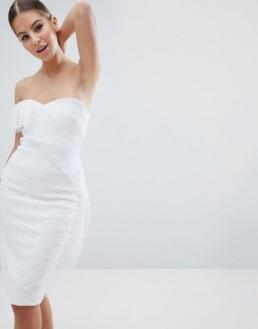 VESPER Allover Lace Asymmetric Sleeve Pencil White Dress