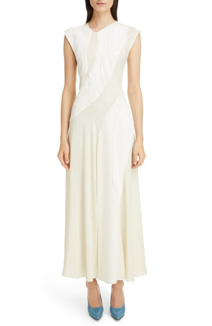 VICTORIA BECKHAM Patchwork Maxi Off White Dress