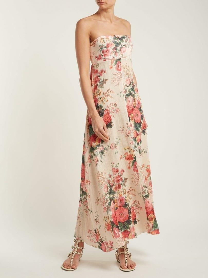 ZIMMERMANN Laeila Linen Cream / Floral Printed Dress