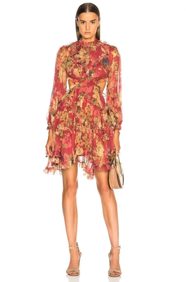 ZIMMERMANN Melody Lace Up Short Burgundy / Floral Printed Dress