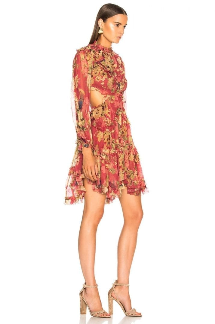 bc91ad15f0428 ZIMMERMANN Melody Lace Up Short Burgundy / Floral Printed Dress - We ...