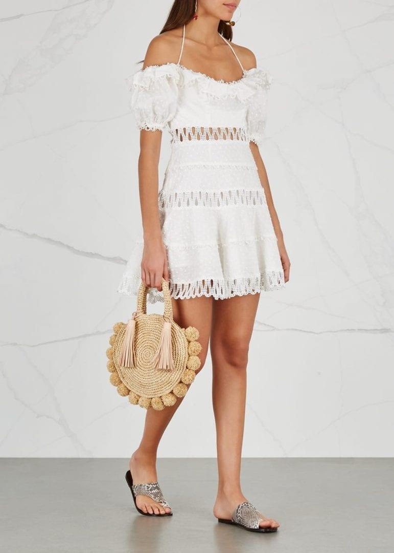 Zimmermann Melody Linen And Cotton Plumetis Blend White Dress