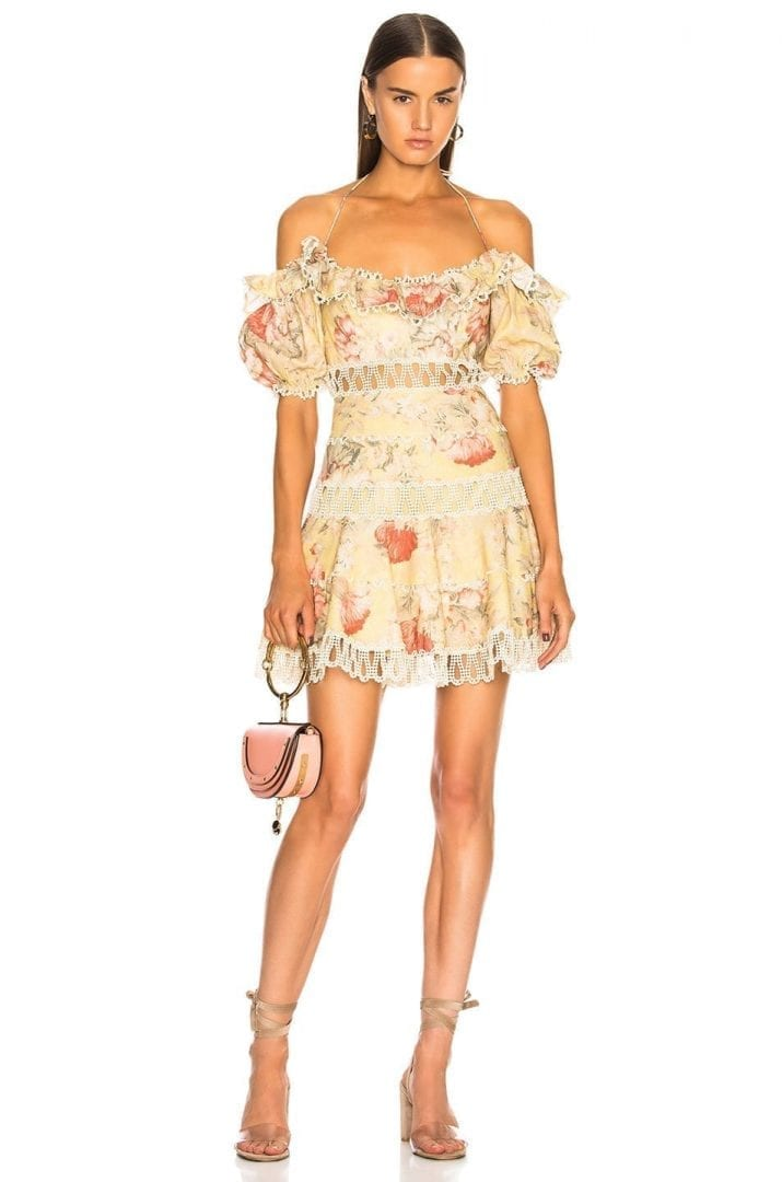 ZIMMERMANN Melody Off Shoulder Mustard Floral Dress