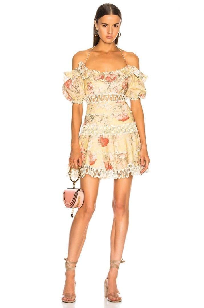 ZIMMERMANN Melody Off Shoulder Mustard Floral Dress