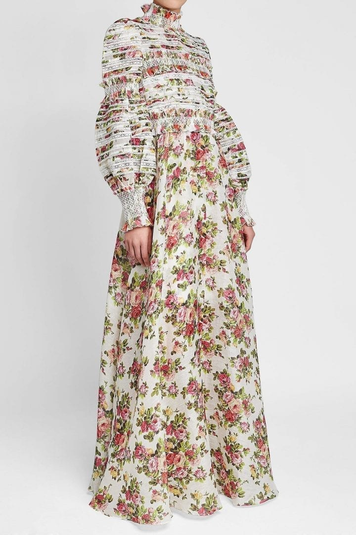 Zimmermann Radiate Smocked Linen And Silk Floral Printed Dress We