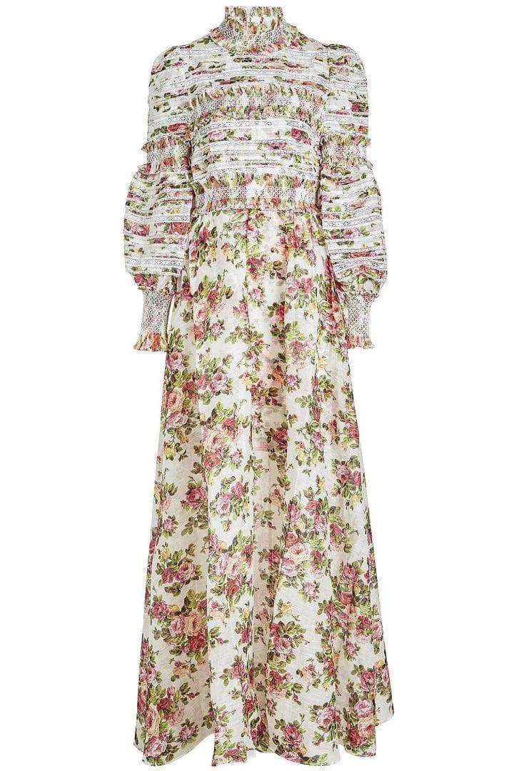 Zimmermann Radiate Smocked Linen And Silk Floral Printed Dress We