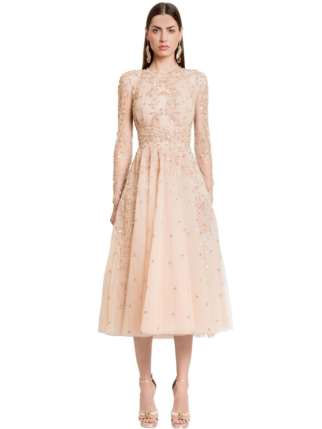 ZUHAIR MURAD Embellished Silk Tulle Midi Beige Dress