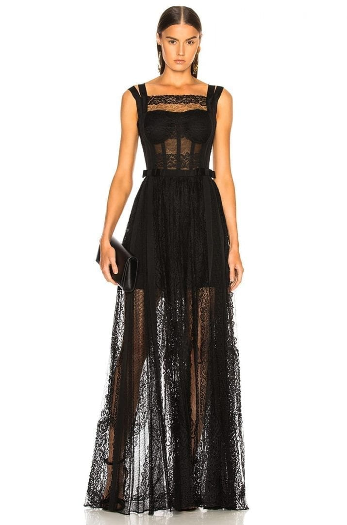 ZUHAIR MURAD Paneled Lace Sleeveless Black Gown - We Select Dresses