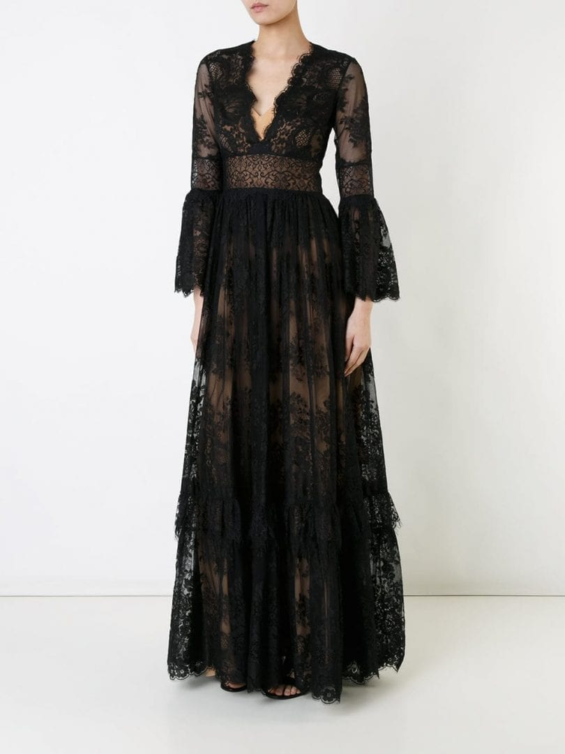 ZUHAIR MURAD V-Neck Lace Black Gown - We Select Dresses