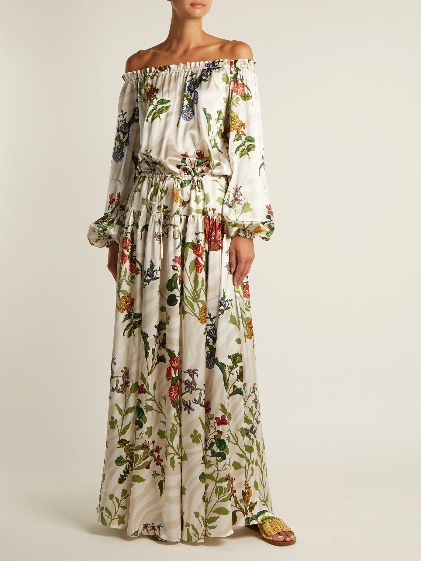 ADRIANA IGLESIAS Creek Silk Blend White / Floral Printed Gown