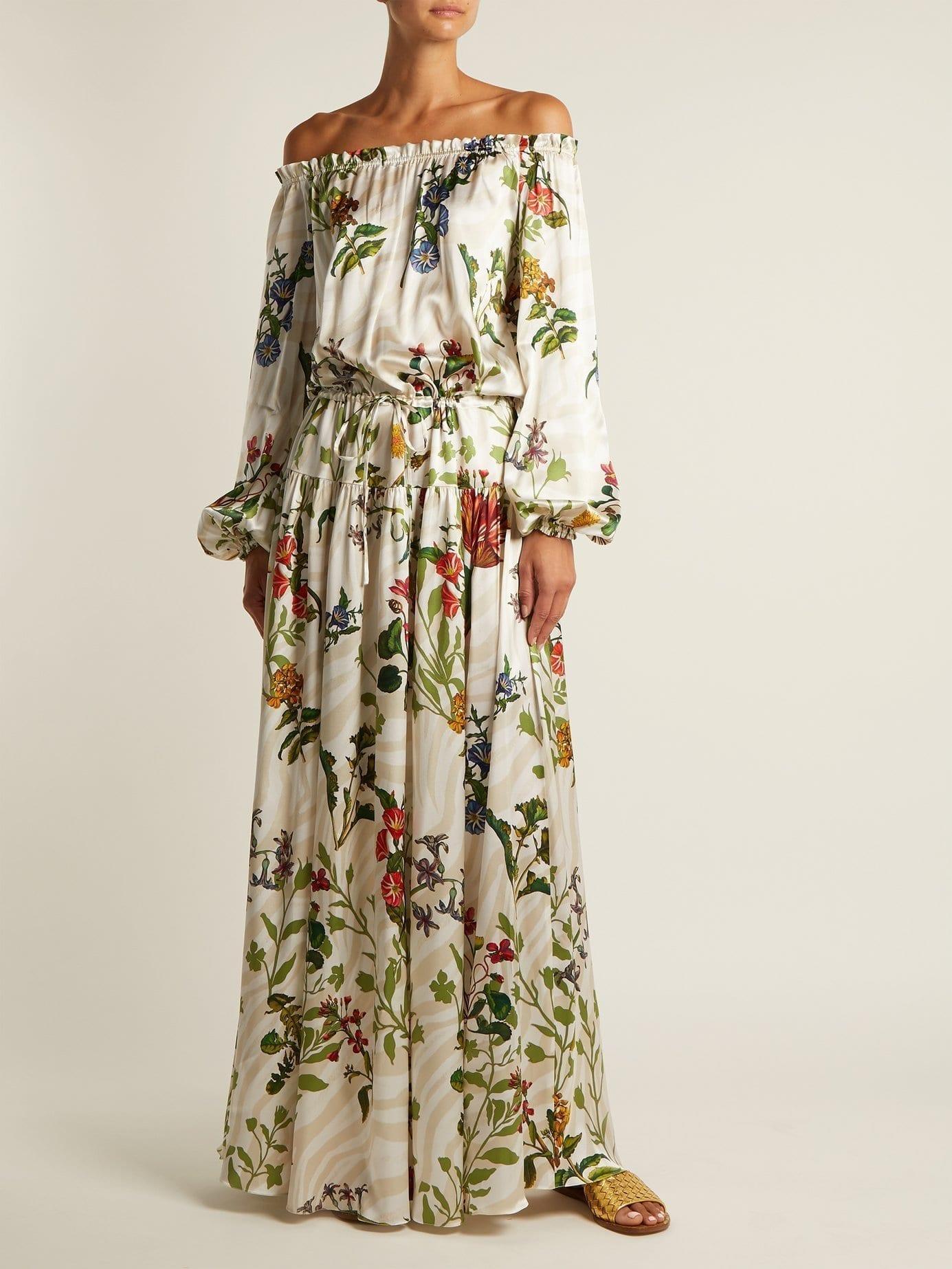 ADRIANA IGLESIAS Creek Silk Blend White / Floral Printed Gown