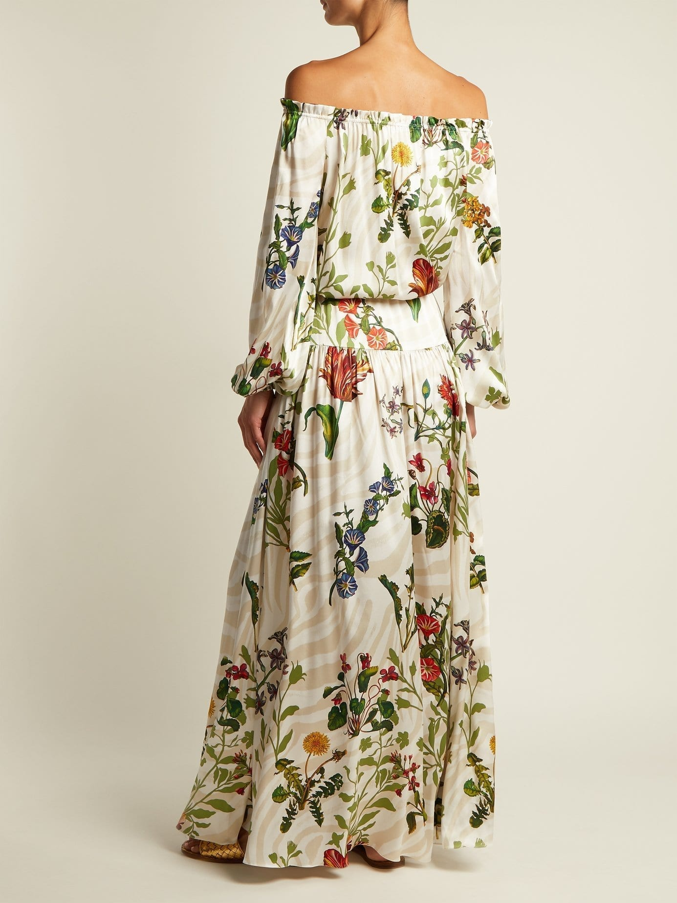 ADRIANA IGLESIAS Creek Silk Blend White / Floral Printed Gown - We ...