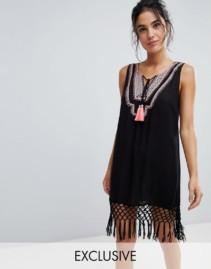 AKASA Tassel Detail Beach Black Dress