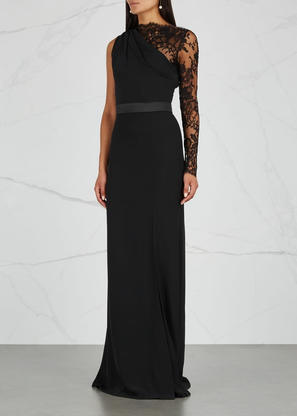 ALEXANDER MCQUEEN Lace And Satin Trimmed Black Gown