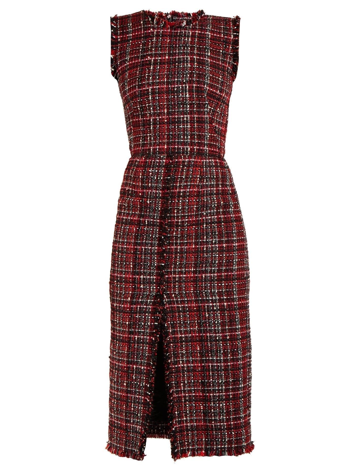 Alexander Mcqueen Tweed Pencil Red Dress We Select Dresses