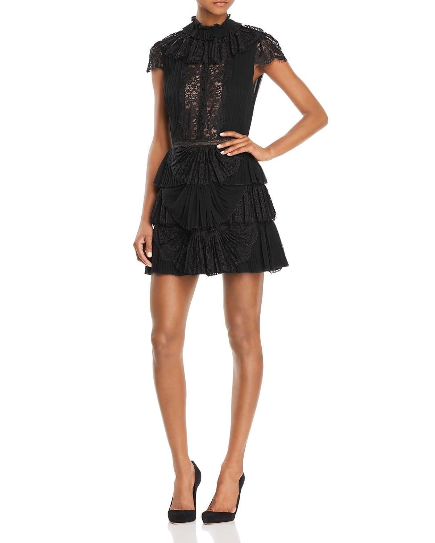 ALICE AND OLIVIA Rosetta Pleated Tiered Black Dress