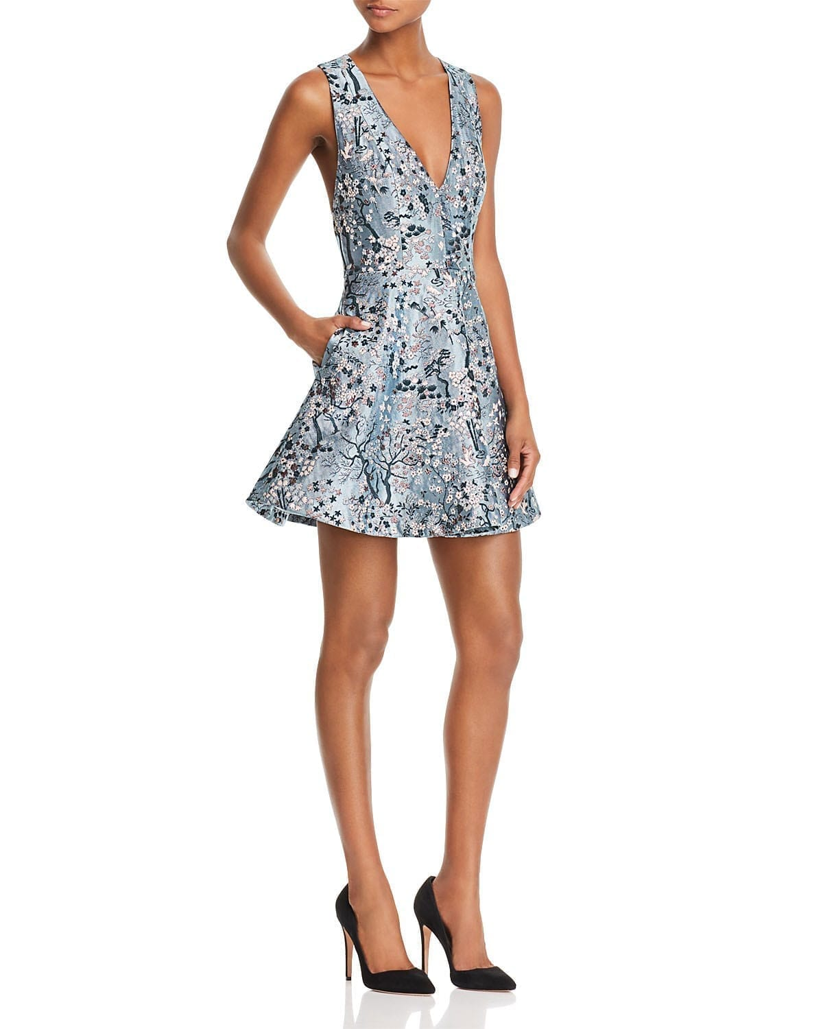 ALICE AND OLIVIA Tennie Embroidered Fit-and-Flare Blue Dress