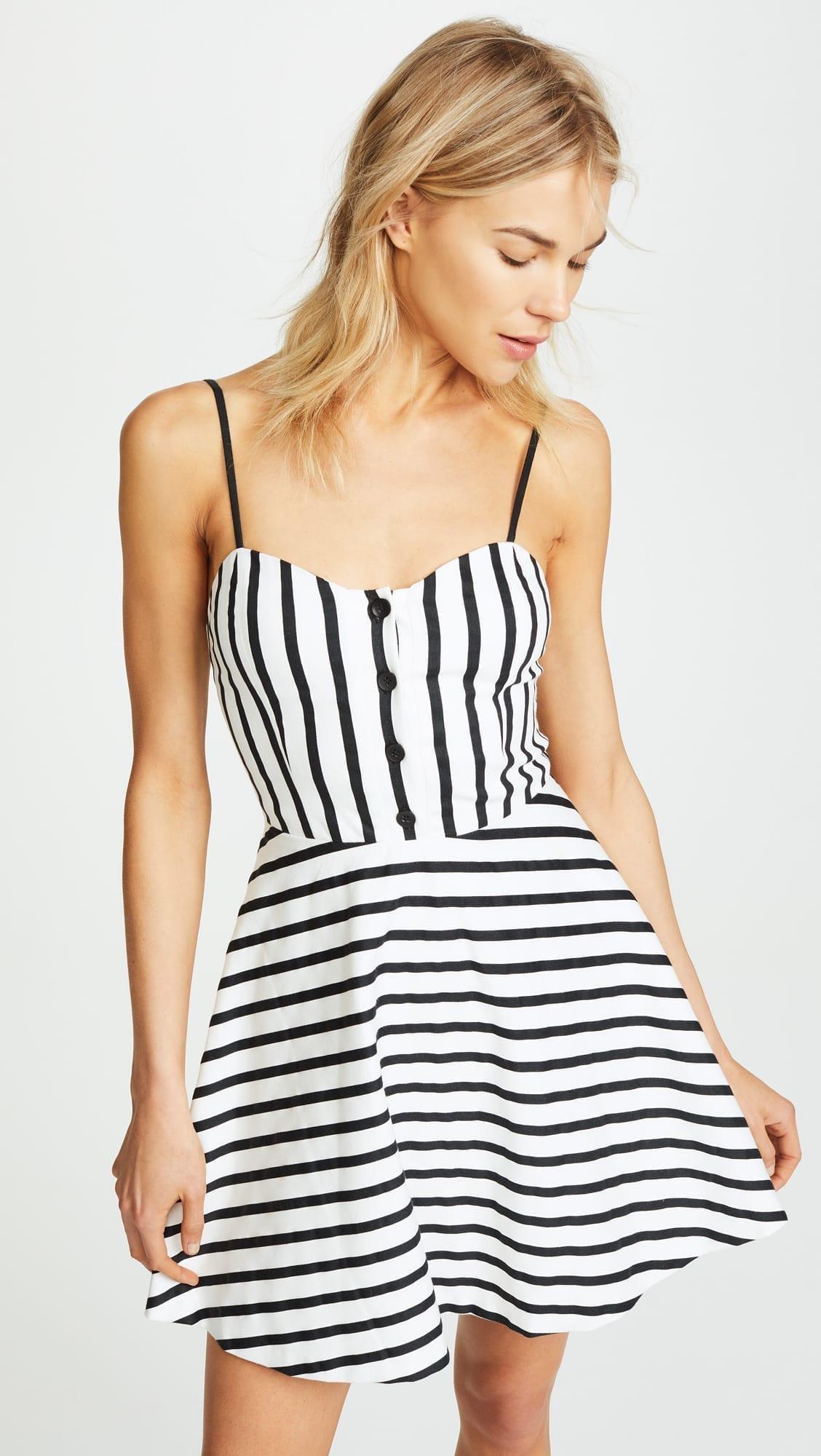 ALICE + OLIVIA Nella Button Front Monochrome Stripe Dress
