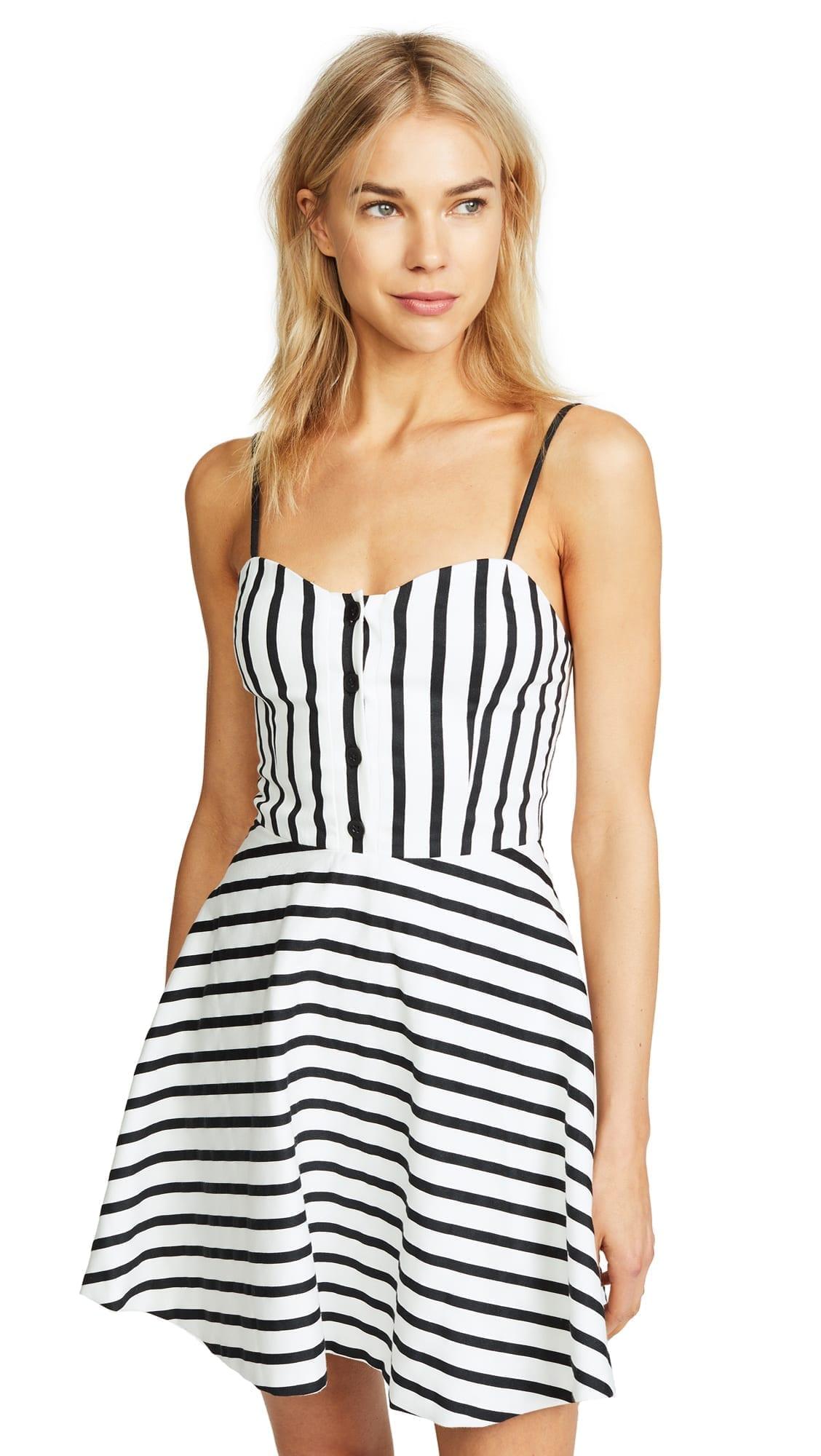 Alice Olivia Nella On Front Monochrome Stripe Dress