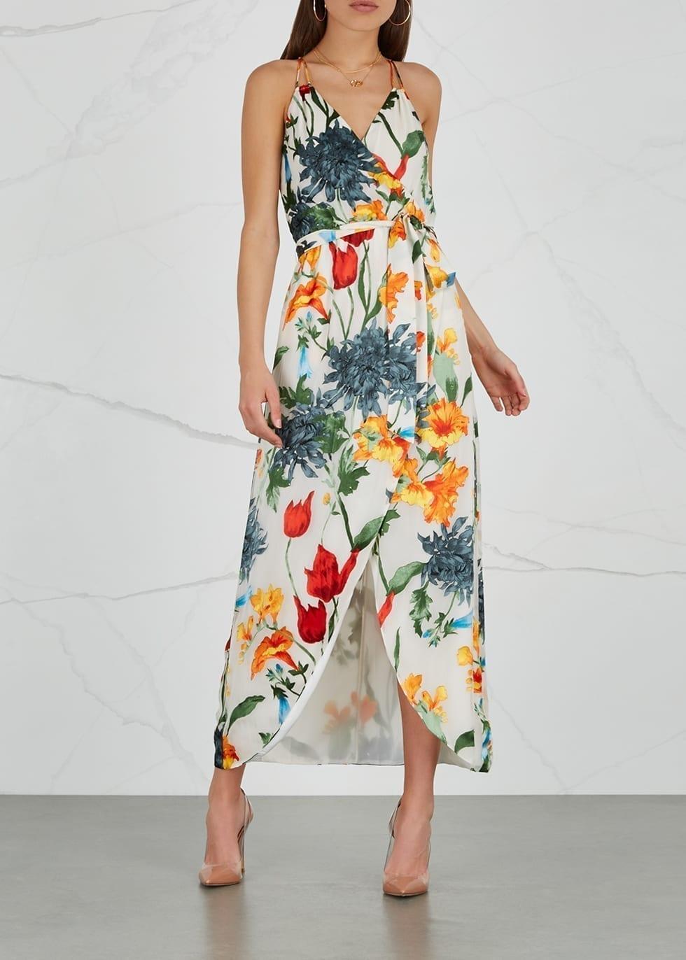 ALICE + OLIVIA Susana Devoré Chiffon Multi / Floral Printed Dress
