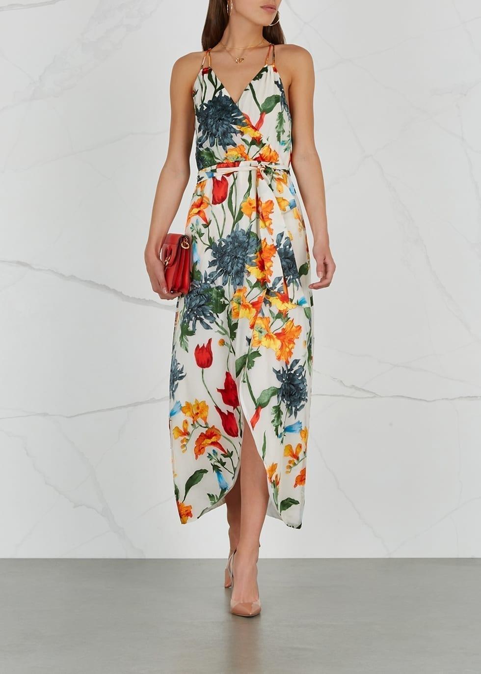 ALICE + OLIVIA Susana Devoré Chiffon Multi / Floral Printed Dress ...