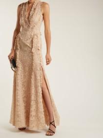 ALTUZARRA Medina Valencienne Lace Ruffle Trimmed Beige Dress