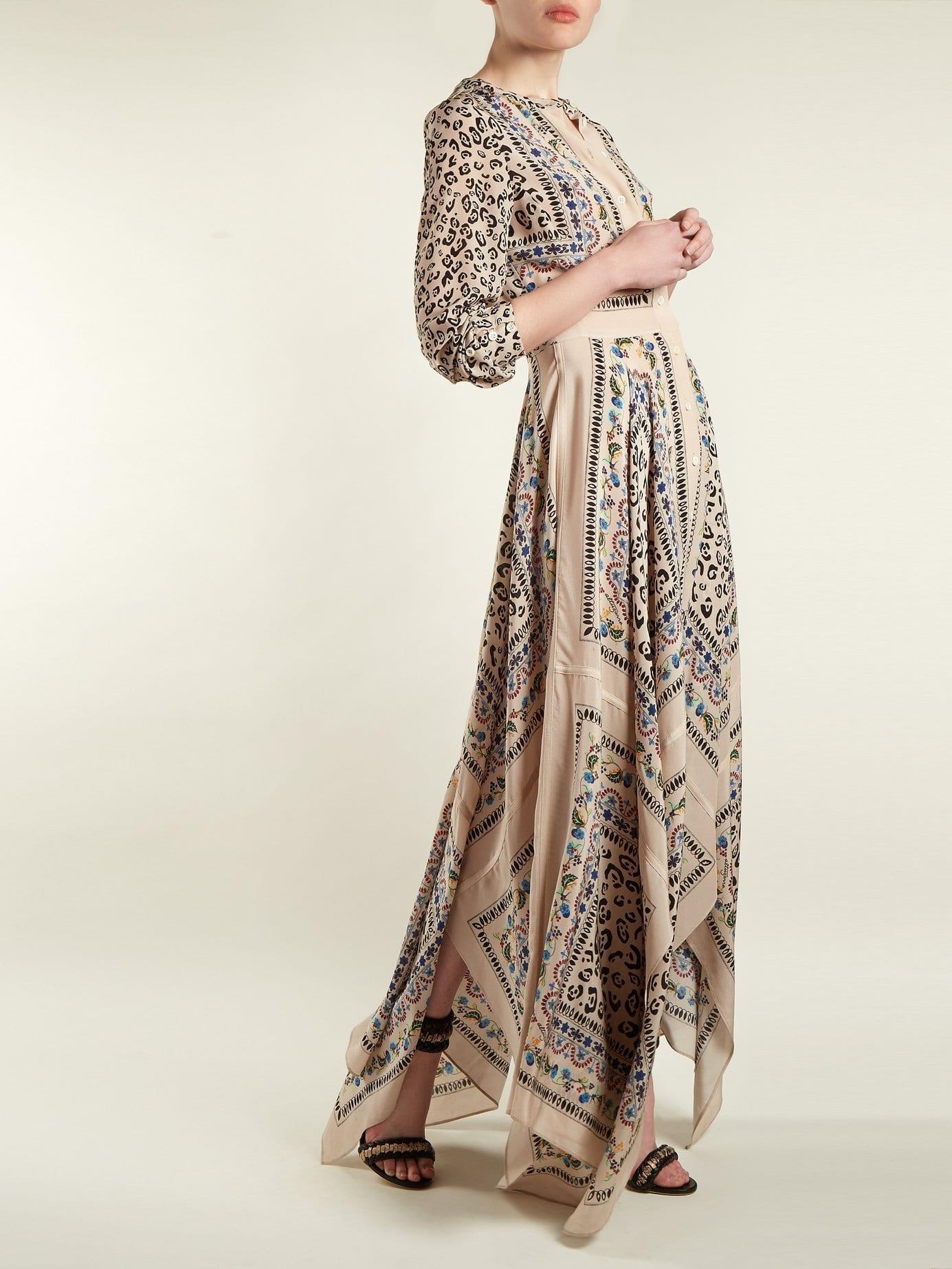 ALTUZARRA Tamourine Scarf Print Beige Dress