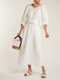 APIECE APART Odesa Linen Blend Maxi White Dress