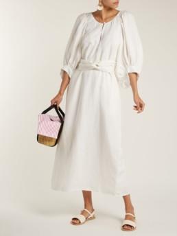 APIECE APART Odesa Linen Blend Maxi White Dress